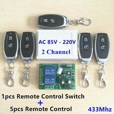 2CH 433MHz Relay Wireless Remote Control Switch 5pcs Transmitter+Receiver 12V