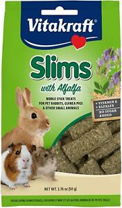 Slims with Alfalfa Rabbits Guinea Pigs Hamsters Nibble Stick Treat Food 1.76 oz