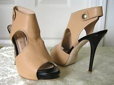 Jerome C. Rousseau - Open Toe High Heels Beige + Black Patent 40 (MSRP$695)