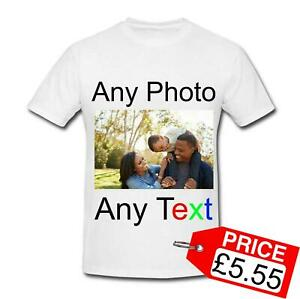 Design Personalised Your Photo Picture Text Printed Unisex Men's Women's T-Shirt
