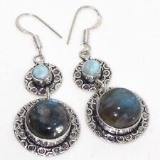 """Plated Earrings 2.1"""" Jewelry Gw Fiery Labradorite Larimar 925 Sterling Silver"""