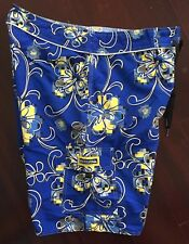 New Vintage 90s Blue Quiksilver Hawaiian Hibiscus Surf Board Shorts Trunks Sz 34
