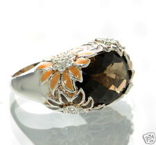David Sigal Solid 925 Sterling Silver Floral Quartz Ring Sz-6 '