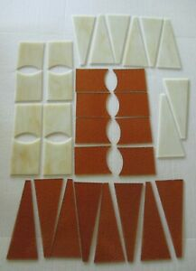 LOT OF 24 PRE-CUT STAINED GLASS PIECES LEFT FROM LAMP KIT AMBER BEIGE REPURPOSE