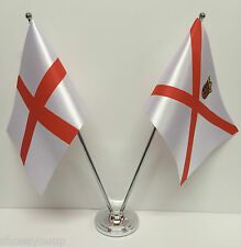 England & Jersey Flags Chrome and Satin Table Desk Flag Set
