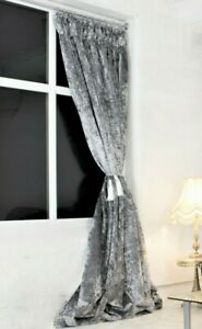 """Pencil Pleat Silver Grey Crushed Velvet Curtains 90"""" x 90"""" - Ready Made & Lined"""