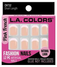 NEW L.A. COLORS FASHION NAILS - SHORT LENGTH - PINK FRENCH CNT32 12pc  FREE SHIP