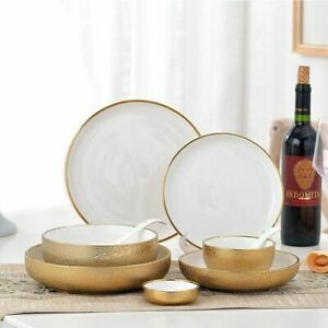 Ceramic Gold Plate Bowl Snack Dessert Dinner Tableware Creative Porcelain Dishes