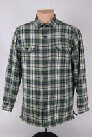 L.L. Bean Mens Small Green Plaid Fleece Lined Flannel Button Up Shirt