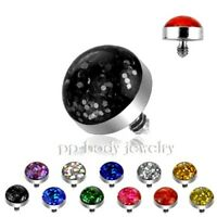 Glitter Dome 4mm 316L Surgical Steel Threaded Dermal Anchor Top Piece