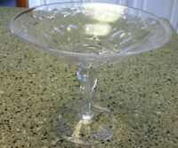 Signed Stuart England Crystal Tall Footed Compote Flowers Leaves Circles