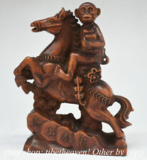 """4.8"""" Old China Boxwood Hand Carved Feng Shui Monkey Ride Horse Wealth Sculpture"""