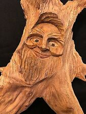 Rustic Hand Carved FACE in Wood Branch WALL ART or REPTILE TANK Decor, VINTAGE