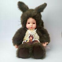 "Vintage ANNE GEDDES Doll 15"" Baby Squirrel Plush Stuffed Animal Original Tags"