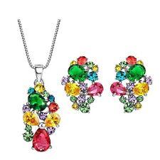 Zircon Varios Colores Austria Cristal Estrás Pendientes Collar Joyería Conjunto