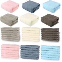 Bath Towel Set Bathroom Towels Washcloths Hand Towel 100% Cotton 6 Solid Colors