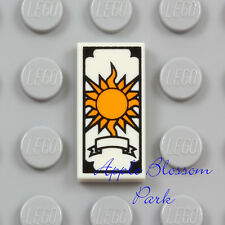 NEW Lego TAROT CARD 1x2 White Printed Fortune Teller w/Yellow Sun Minifig Tile