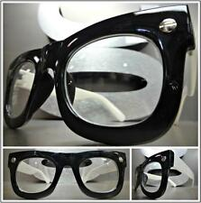 Men's Women VINTAGE RETRO Style Clear Lens EYE GLASSES Black White Fashion Frame