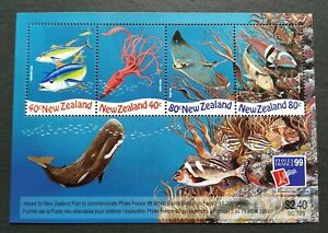 1999 New Zealand Marine Life France Philex World Stamp Expo Miniature Sheet MS
