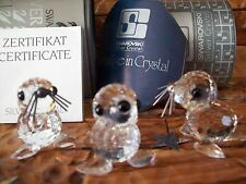 "Swarovski Silver Crystal Trio of ""Baby (Mini) Seals"" Button Nose w/Boxes/Certs"