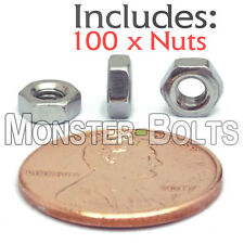 M3-0.5 / 3mm - Qty 100 - Metric HEX NUTS DIN 934 A2 Stainless Steel Coarse UNC