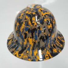 Full Brim Hard Hat Custom Hydro Dipped Orange Black And Bluevdigital Camo New