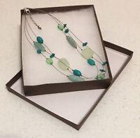 "Serpentine Howlite Amazonite Glass Necklace 18 To 20"" 925 Silver SILPADA N2021"