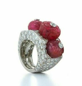 Lab Created Carved Ruby Ring Sim Diamond 925 Sterling Silver Statement Jewelry