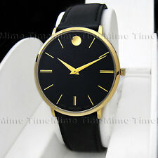 Men Movado ULTRA SLIM TC Black Dial Gold Case Leather Swiss Quartz Watch 0607087