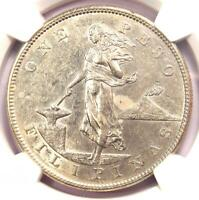 1905-S Philippines Peso 1P - Certified NGC AU55 - Rare Date - Near MS UNC!