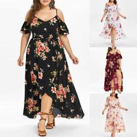 Plus Size Women Casual Short Sleeve Cold Shoulder Boho Flower Long Maxi Dress