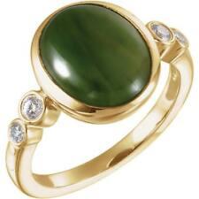 14K Yellow Gold Nephrite Jade and Diamond Ring