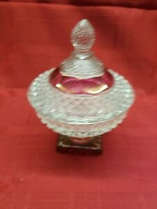 Whitehall Flashed Glass Candy Dish w/ Lid
