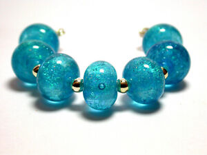VictoriaGail Lampworked Beads- Caribbean Water Sm