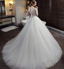 New White Ivory Bridal Boat Neck Lace Ball Gown Wedding Dress with Sweep Train