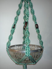 TMP-0011Handcrafted macrame plant hanger,Green in color with brown beads