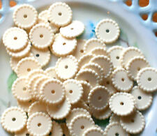 #970 Vintage Lucite Beads DISC SPACER Hobnail Round Cream Ivory Color 14mm NOS