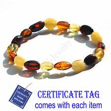 Multi Color 100% Genuine Baltic Amber Stretch Bracelet for Adult