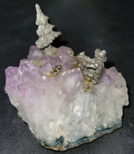 Natural Amethyst Healing Crystal with Pewter Tree & Miner Pyrite Sculpture