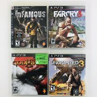 Uncharted 3 / Far Cry 3 / God of War 3 / Infamous (Playstation 3 PS3 Game Lot)
