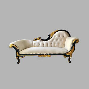 French Louis XVI Style White Black Gold Chaise Lounges - worldwide shipping