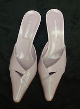 ❤ ROBERTO VIANNI Size 5 38 Pale Lilac Italian Leather Kitten Mules Formal Shoes