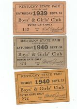 3 Vintage Kentucky State Fair Tickets 1-1939 2 -1940 Boys & Girls Club Louisvill