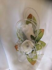Wedding Flowers Double White Buttonhole / Corsage Tulle, Pearls & Diamante
