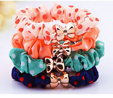 10pcs Girl Elastic Hair Accessories Headwear Band Women Bow Ponytail Holder