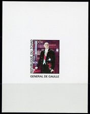 CHAD CHARLES deGAULLE   DELUXE SOUVENIR SHEET ON CARD NO GUM AS ISSUED