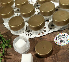100 Gold Cap Lid #2801 Clear Mini JARS Sample Container 1/8oz  Made in USA New