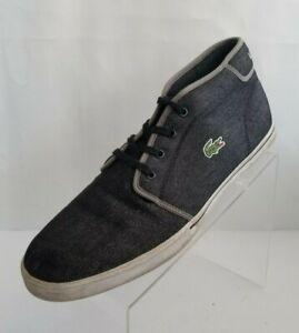 Lacoste Mens Ampthill TK Sport Sneakers Black Denim Lace Up Canvas Shoes Size 13