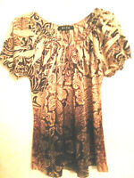 B.L.E.U. Women's Sz S Shirt Top Peep Hole BROWN MultiColor Gypsy Peasant Blouse