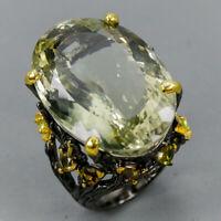 Green Amethyst Ring Silver 925 Sterling Handmade SET65ct+ Size 8.5 /R130517